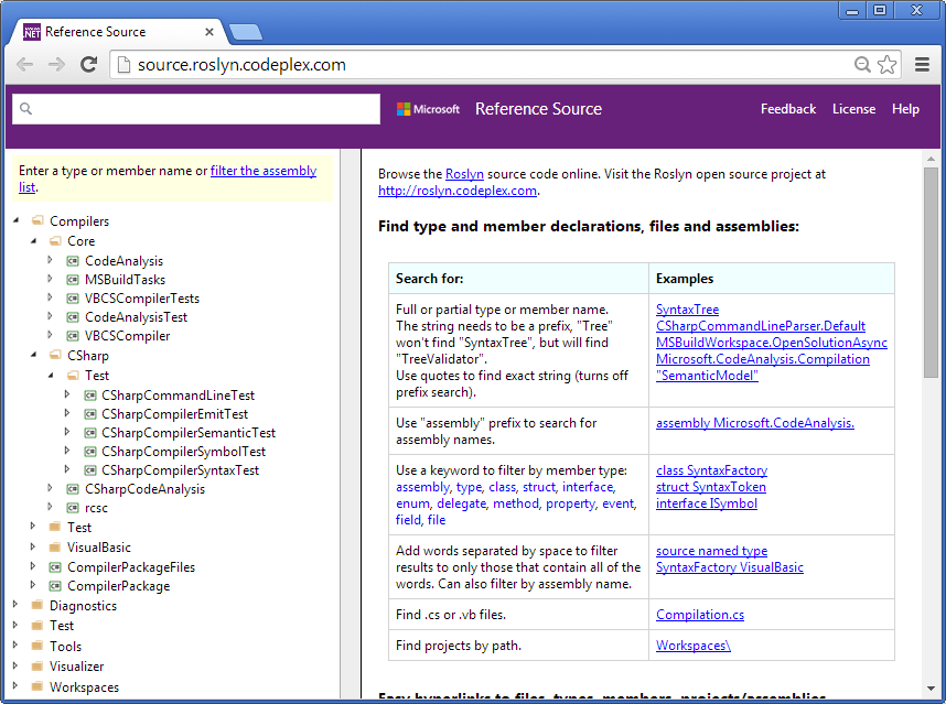Roslyn reference source browser