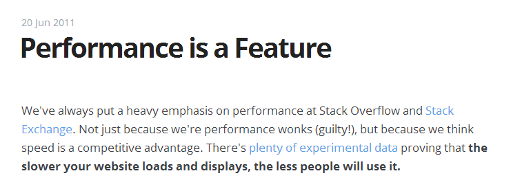 performance is a feature - coding horror blog